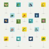 Απλά minimalistic επίπεδο σύνολο εικονιδίων συμβόλων τροφίμων και διατροφής Στοκ Φωτογραφίες