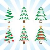 Απλές διανυσματικές παραλλαγές τέχνης δέντρων πεύκων και εικονιδίων χριστουγεννιάτικων δέντρων στοκ εικόνες με δικαίωμα ελεύθερης χρήσης