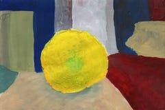 Απλή ζωγραφική - ακόμα ζωή στην γκουας με την εικόνα του υφασματεμπόρου Στοκ εικόνες με δικαίωμα ελεύθερης χρήσης