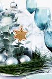 Απλή διακόσμηση Χριστουγέννων για το επιτραπέζιο κεντρικό τεμάχιο γευμάτων Στοκ Εικόνα