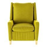 Απλή κίτρινη πολυθρόνα που απομονώνεται Μπροστινή όψη τρισδιάστατη απεικόνιση Στοκ φωτογραφία με δικαίωμα ελεύθερης χρήσης