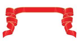 Απλή κόκκινη κορδέλλα με το χρυσό λωρίδα Στοκ Εικόνες