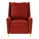 Απλή κόκκινη πολυθρόνα που απομονώνεται Μπροστινή όψη τρισδιάστατος Στοκ Φωτογραφία