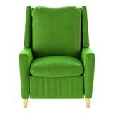 Απλή πράσινη πολυθρόνα που απομονώνεται Μπροστινή όψη τρισδιάστατη απεικόνιση Στοκ Εικόνες