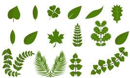 Απλή πράσινη συλλογή εικονιδίων συμβόλων φύλλων καθορισμένη επίπεδη Στοκ Φωτογραφίες