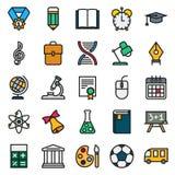 Απλή συλλογή εικονιδίων χρώματος Σχολική εκπαίδευση Στοκ Φωτογραφία