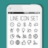Απλή σύγχρονη λεπτή συλλογή εικονιδίων για τις έξυπνες τηλεφωνικές εφαρμογές απεικόνιση αποθεμάτων