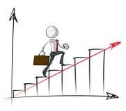 Απλοί επιχειρηματίες - σταθερό διάγραμμα αύξησης Στοκ Φωτογραφίες