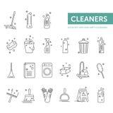 Απλός καθορισμένος στεγνός και υγρός καθαρισμός εικονιδίων Στοκ Φωτογραφία