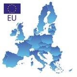 Απλός όλες οι χώρες ευρωπαϊκών ενώσεων σε έναν μπλε χάρτη με τα σύνορα eps10 ελεύθερη απεικόνιση δικαιώματος