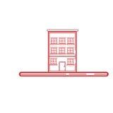 Απλό εικονίδιο τοπίων με την τέχνη γραμμών Στοκ Εικόνες