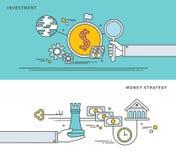 Απλό επίπεδο σχέδιο γραμμών της επένδυσης & της στρατηγικής χρημάτων, σύγχρονη διανυσματική απεικόνιση Στοκ Φωτογραφίες