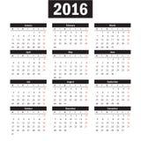 Απλό ευρωπαϊκό διανυσματικό ημερολόγιο έτους του 2016 Στοκ εικόνες με δικαίωμα ελεύθερης χρήσης