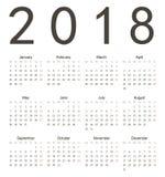 Απλό ευρωπαϊκό τετραγωνικό ημερολόγιο 2018 Στοκ Εικόνες