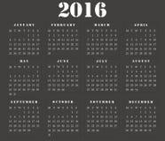 Απλό ευρωπαϊκό τετραγωνικό ημερολόγιο 2016 Στοκ φωτογραφία με δικαίωμα ελεύθερης χρήσης