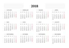 Απλό ημερολογιακό πρότυπο για το έτος του 2018 Στοκ Φωτογραφίες