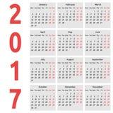 Απλό ημερολόγιο, έτος του 2017 διανυσματική απεικόνιση