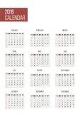Απλό ημερολόγιο έτους του 2016 Στοκ εικόνες με δικαίωμα ελεύθερης χρήσης