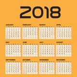 Απλό ημερολόγιο για το έτος του 2018 Στοκ Εικόνα