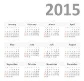 Απλό ημερολόγιο για το διάνυσμα έτους του 2015 Στοκ Εικόνα