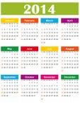 Απλό ημερολόγιο του 2014 Στοκ Εικόνες