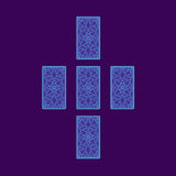 Απλό διαγώνιο tarot που διαδίδεται Πίσω πλευρά καρτών Tarot διανυσματική απεικόνιση