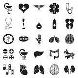 Απλό μαύρο ιατρικό εικονίδιο που τίθεται στο λευκό Στοκ φωτογραφία με δικαίωμα ελεύθερης χρήσης