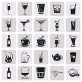 Απλό μαύρο σύνολο εικονιδίων ποτών ποτών Στοκ Εικόνα