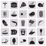 Απλό μαύρο σύνολο εικονιδίων τροφίμων ύφους Στοκ Φωτογραφία