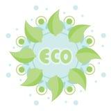 Απλό πράσινο mandala Αφηρημένο στρογγυλό λουλούδι με το eco λέξης Στοκ εικόνα με δικαίωμα ελεύθερης χρήσης
