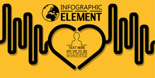 Απλό πρότυπο ύφους γραμμών Infographic με την καρδιά επιλογών μερών βημάτων Στοκ εικόνα με δικαίωμα ελεύθερης χρήσης