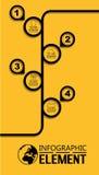 Απλό πρότυπο ύφους γραμμών Infographic με την υπόδειξη ως προς το χρόνο επιλογών μερών βημάτων Στοκ Εικόνα