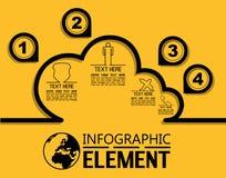 Απλό πρότυπο ύφους γραμμών Infographic με τον υπολογισμό σύννεφων επιλογών μερών βημάτων Στοκ φωτογραφίες με δικαίωμα ελεύθερης χρήσης
