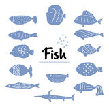 Απλό συρμένο χέρι σύνολο μπλε και άσπρων ψαριών Στοκ Φωτογραφία