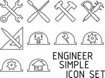 Απλό σύνολο εικονιδίων μηχανικών Στοκ φωτογραφία με δικαίωμα ελεύθερης χρήσης