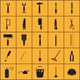 Απλό σύνολο σχετικών με τα εργαλεία εικονιδίων Στοκ Φωτογραφία