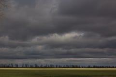Απλό τοπίο με τα λωρίδες του τομέα, των σύννεφων και των δέντρων Στοκ εικόνα με δικαίωμα ελεύθερης χρήσης