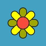 Απλό χρωματισμένο γεωμετρικό εικονίδιο λουλουδιών Στοκ Φωτογραφία