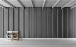 Απλό δωμάτιο με την τρισδιάστατη απόδοση τοίχων φύλλων μετάλλων Στοκ Εικόνα