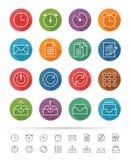 Απλό ύφος γραμμών: Εικονίδια γραφείων & επιχειρήσεων καθορισμένα - διανυσματική απεικόνιση Στοκ Φωτογραφία