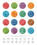 Απλό ύφος γραμμών: Εικονίδια γραφείων & επιχειρήσεων καθορισμένα - διανυσματική απεικόνιση Στοκ Φωτογραφίες