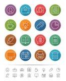 Απλό ύφος γραμμών: Εικονίδια επιχειρήσεων & γραφείων καθορισμένα - διανυσματική απεικόνιση Στοκ Φωτογραφία