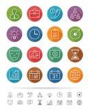 Απλό ύφος γραμμών: Εικονίδια διοίκησης επιχειρήσεων καθορισμένα - διανυσματική απεικόνιση Στοκ Εικόνες