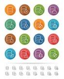 Απλό ύφος γραμμών: Εικονίδια σύνδεσης βάσεων δεδομένων & στοιχείων καθορισμένα - διανυσματική απεικόνιση Στοκ Εικόνα
