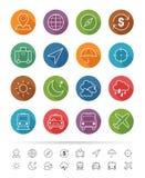 Απλό ύφος γραμμών: Εικονίδια ταξιδιού & επιχειρήσεων καθορισμένα - διανυσματική απεικόνιση Στοκ Εικόνες