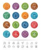 Απλό ύφος γραμμών: Ενεργειακά εικονίδια Eco καθορισμένα - διανυσματική απεικόνιση Στοκ Εικόνα