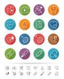 Απλό ύφος γραμμών: Υγειονομική περίθαλψη και ιατρικά εικονίδια καθορισμένες - διανυσματική απεικόνιση Στοκ Φωτογραφία