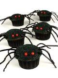 Αράχνη αποκριών cupcakes πέρα από το λευκό Στοκ Φωτογραφίες