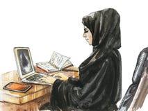 Αραβική γυναίκα Watercolor που εργάζεται στο lap-top στοκ φωτογραφία