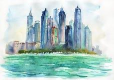 Αραβική εικονική παράσταση πόλης εμιράτων Watercolor Συρμένοι χέρι Ντουμπάι, θάλασσα και ουρανοξύστης Στοκ Φωτογραφία